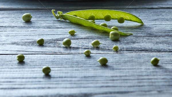 Organisch groene jonge erwten grijs Stockfoto © artjazz