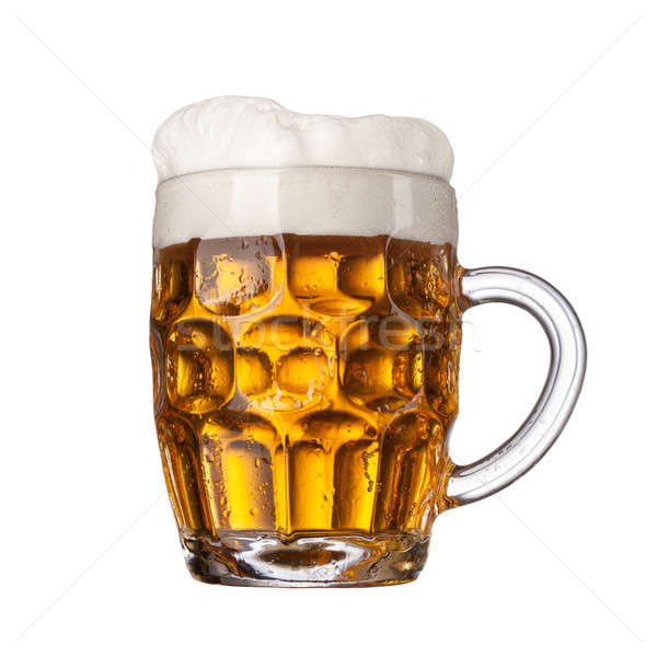 Beer in glass isolated on white background Stock photo © artjazz