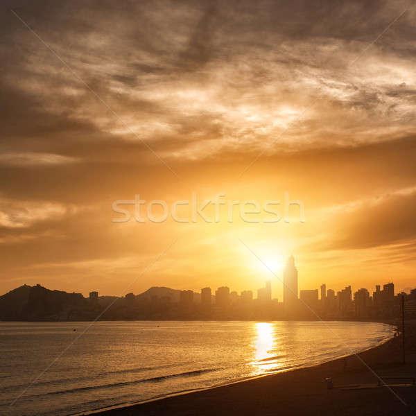 Widoku wygaśnięcia Hiszpania plaży niebo budynku Zdjęcia stock © artjazz