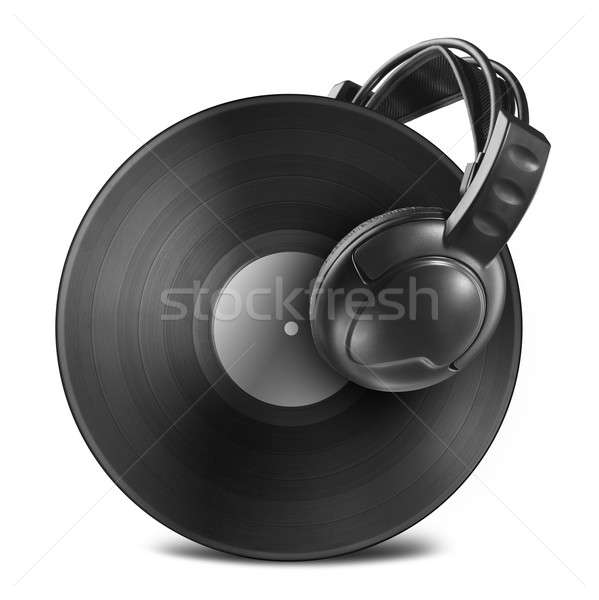 Black vinyl record disc with headphones isolated on white Stock photo © artjazz
