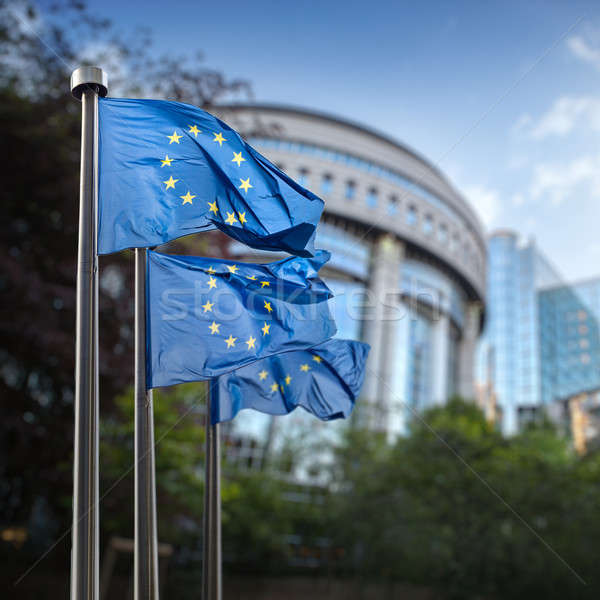 European Union flags in front of the Berlaymont Stock photo © artjazz