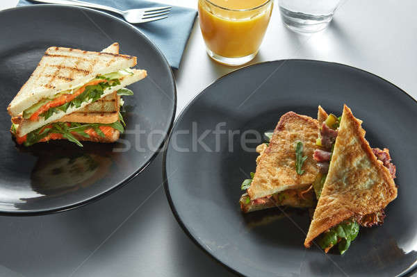 Grill sandwich and toast for breakfast Stock photo © artjazz