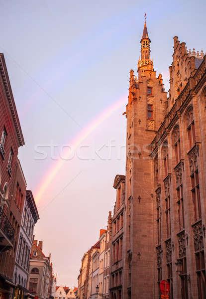 Bruges City Hall on Burg Square. Stock photo © artjazz