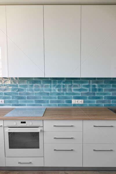 Kitchen with kitchen appliances in modern style Stock photo © artjazz