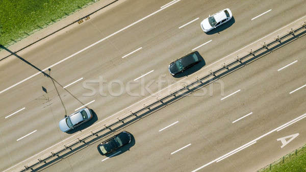 Aerial view on the of expressway across city road in the Kiev city Stock photo © artjazz