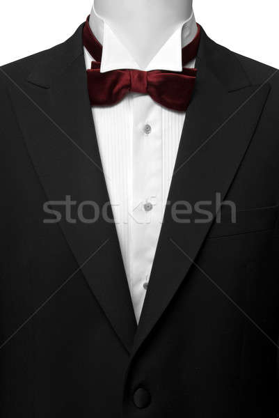 black suite with white shirt and red butterfly Stock photo © artjazz