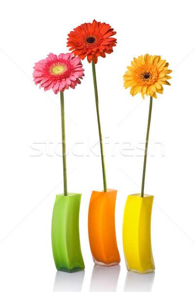 Virágcsokor üveg váza izolált fehér víz Stock fotó © artjazz