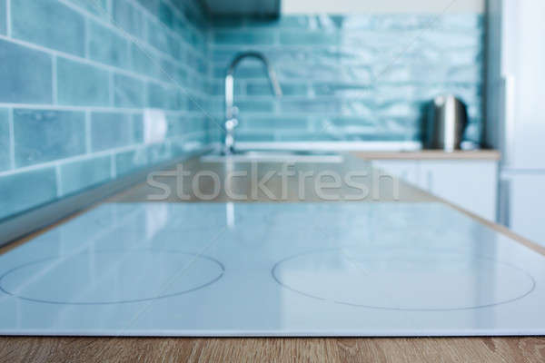 View of the kitchen with white hob Stock photo © artjazz