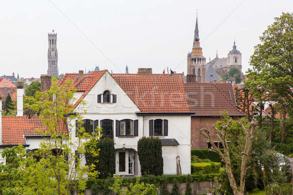 Traditional medieval red and white brickwall architecture Stock photo © artjazz