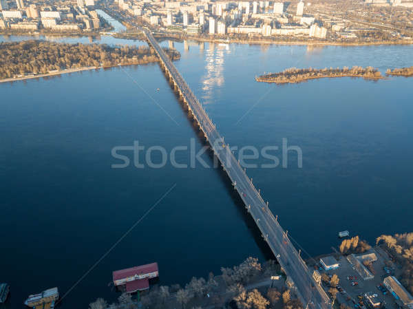 Aerial view from the drone to the Patona Bridge, Dnieper River in the city of Kiev, Ukraine Stock photo © artjazz