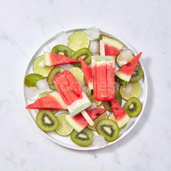 Owoców lody Stick tablicy sztuk Zdjęcia stock © artjazz