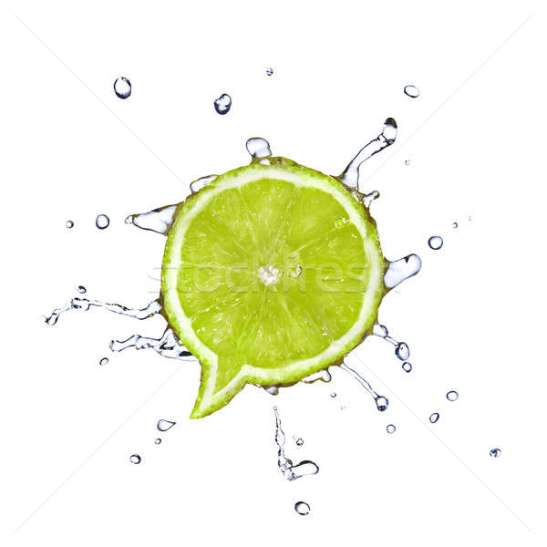 Lime in shape of dialog box with water drops isolated on white Stock photo © artjazz