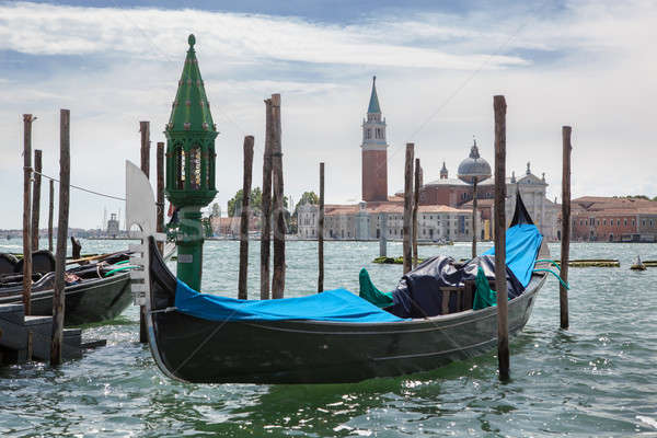 Gondolas and San Giorgio Maggiore church in Venice Stock photo © artjazz