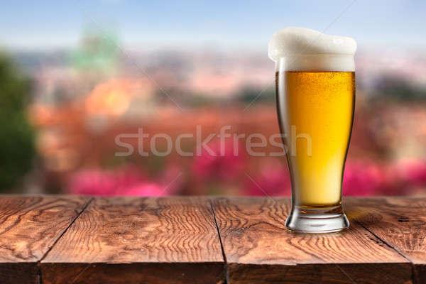 Cam bira ahşap masa Prag yaz doğal Stok fotoğraf © artjazz