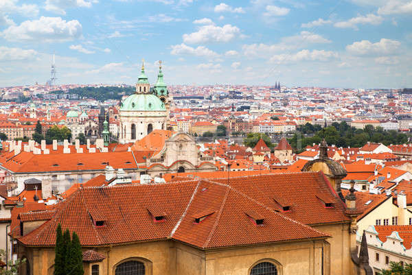 Aerial view over Old Town in Prague Stock photo © artjazz