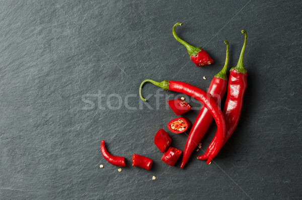 Chilean red pepper slices and seeds Stock photo © artjazz