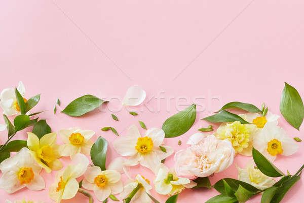 Beyaz çiçekler üst görmek yeşil yaprakları pembe bo Stok fotoğraf © artjazz
