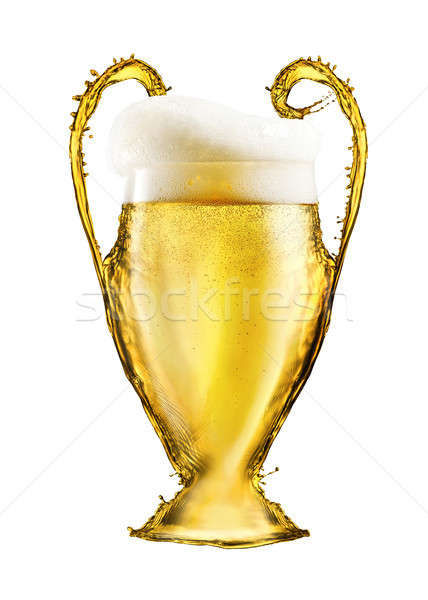 Football cup made from beer isolated on white background Stock photo © artjazz