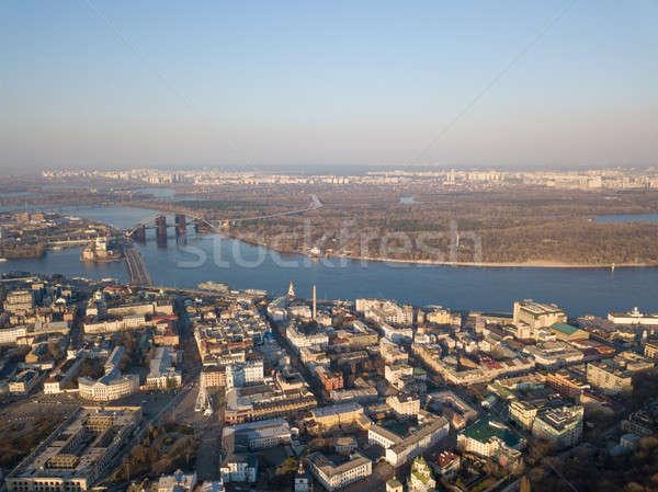 Aerial view Dnieper River and Podolsky District, Kiev, Ukraine Stock photo © artjazz