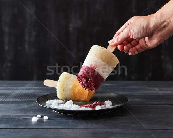 Hand fruit koffie eigengemaakt ijs Stockfoto © artjazz