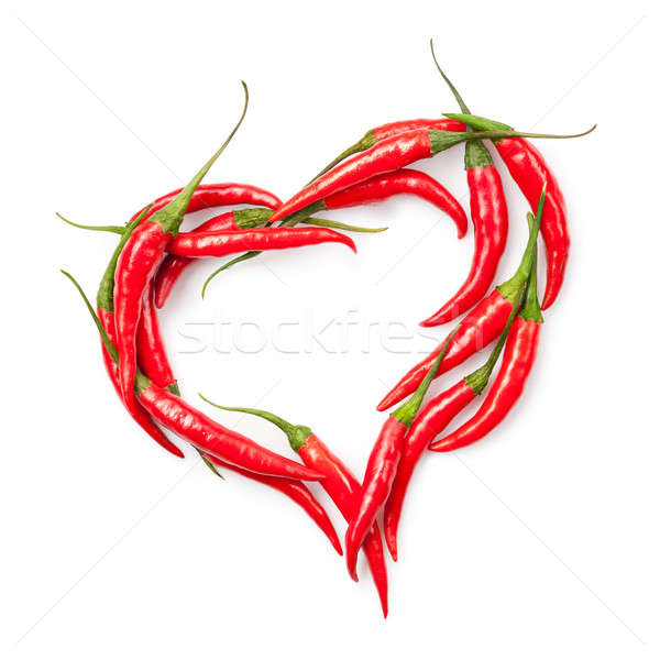 Stock photo: heart of chili pepper isolated on white