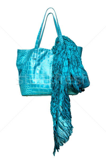 luxury blue leather female bag with shawl isolated on white Stock photo © artjazz