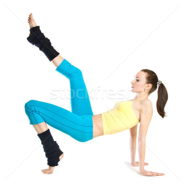 Güzel kız jimnastik beyaz kadın spor vücut Stok fotoğraf © artjazz