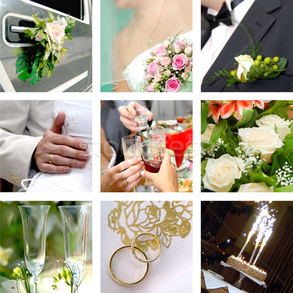 Couleur mariage photo fleurs couple Photo stock © artjazz