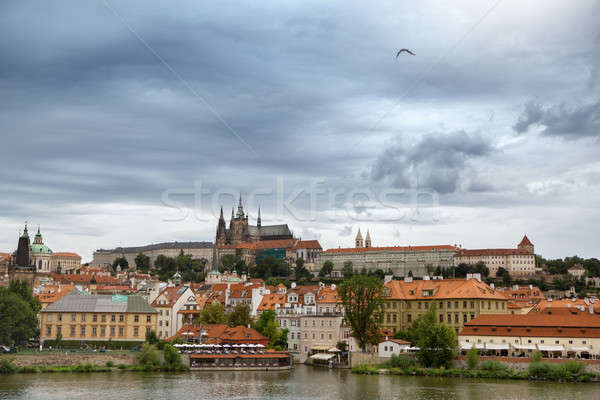 View of the district of Hradcany and St. Vitus Cathedral in Prag Stock photo © artjazz