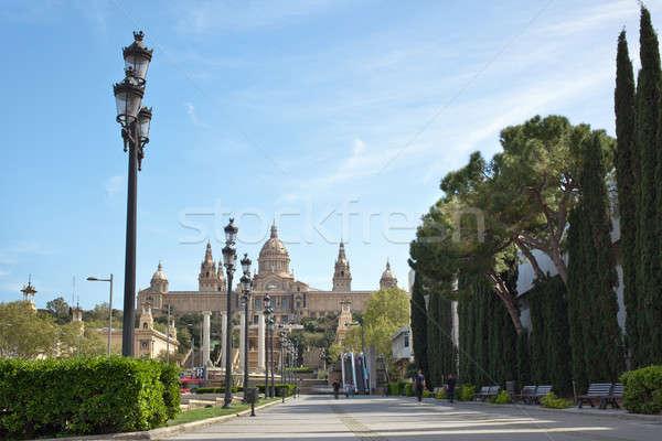 Múzeum Barcelona Spanyolország égbolt tavasz építkezés Stock fotó © artjazz