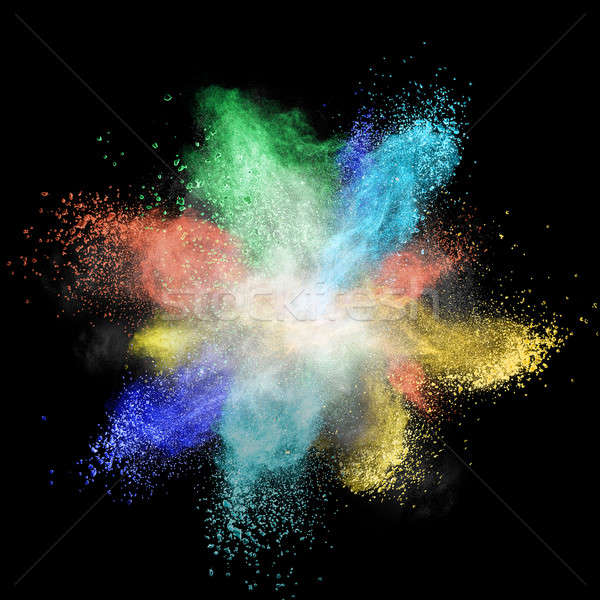 White powder explosion isolated on black Stock photo © artjazz