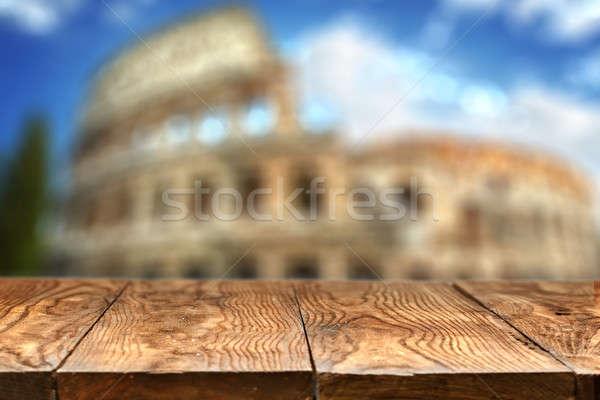 Boş ahşap masa colosseum Roma doğal bokeh Stok fotoğraf © artjazz