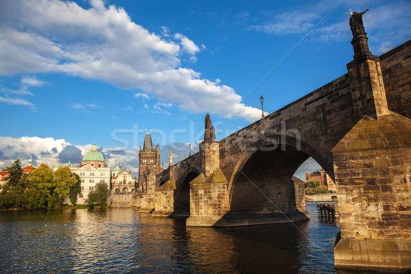 Pont quai rivière ville Prague ciel Photo stock © artjazz