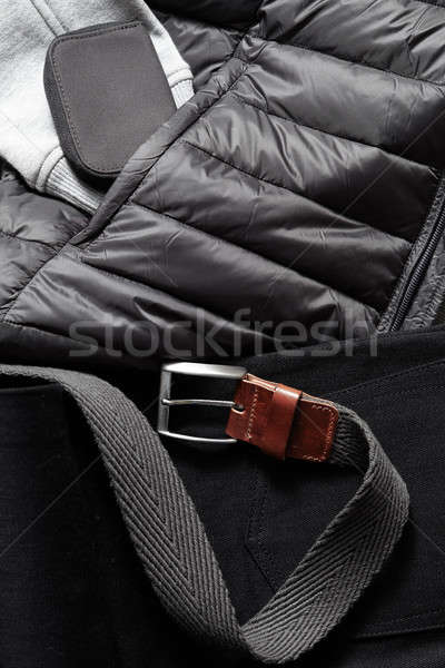Zwarte gordel winter jas kleding vrouw Stockfoto © artjazz