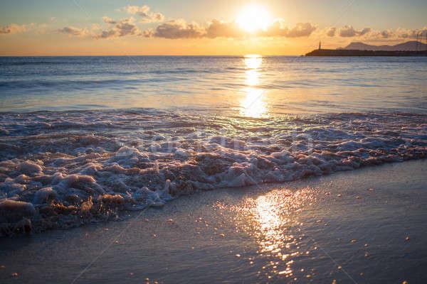 Foto d'archivio: Colorato · tramonto · mare · natura · cielo · panorama