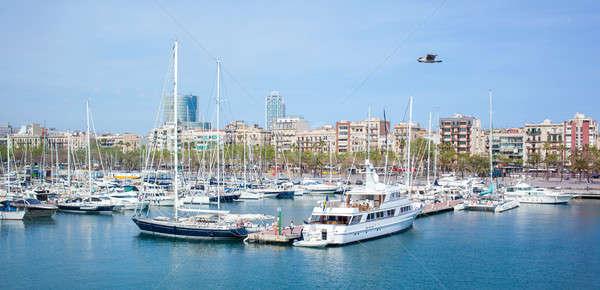 Wiele portu morza jeden trzy Barcelona Zdjęcia stock © artjazz
