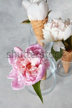 Beyaz çiçekler düğün sevgililer günü yeşil yaprakları Stok fotoğraf © artjazz