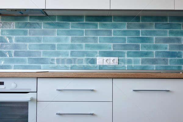 Mutfak mutfak aletleri modern tarzda beyaz mavi ev Stok fotoğraf © artjazz
