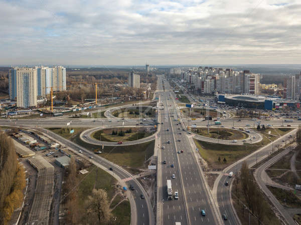 Aerial View of freeway traffic highway. Kiev, capital of Ukraine Stock photo © artjazz