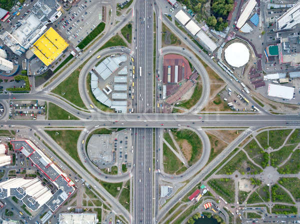 Aerial view modern city of Kiev, a road junction with cars, Ukraine. Stock photo © artjazz