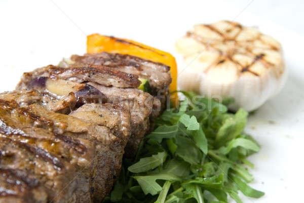 shashlik with potherbs on the plate Stock photo © artjazz