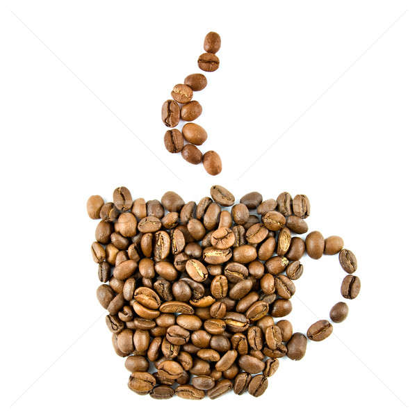 Stock photo: Coffee cup from coffee beans isolated on white