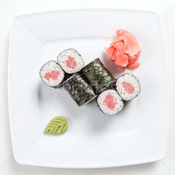 Maki sushi piatto isolato bianco alimentare Foto d'archivio © artjazz