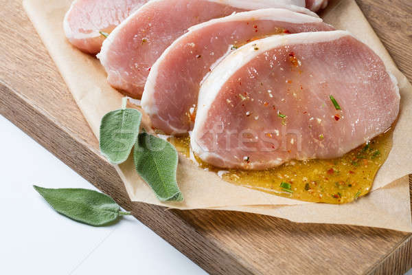 raw pork escalope with sause made of honey and herbs Stock photo © artjazz