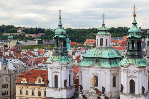 The Church of St. Nicholas behind the trees in Prague Stock photo © artjazz