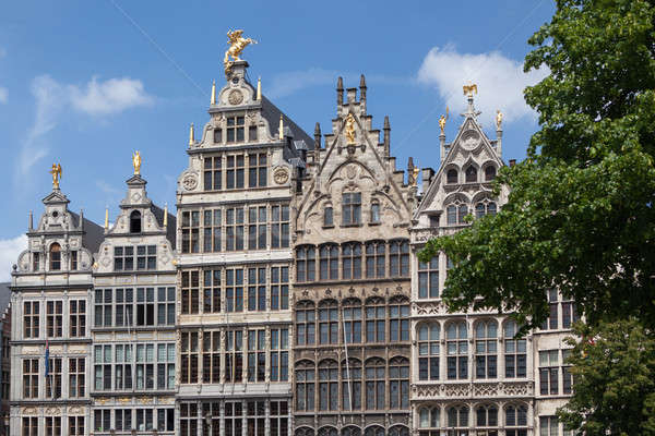 Facades of Guild buildings in the Grote Markt square Stock photo © artjazz