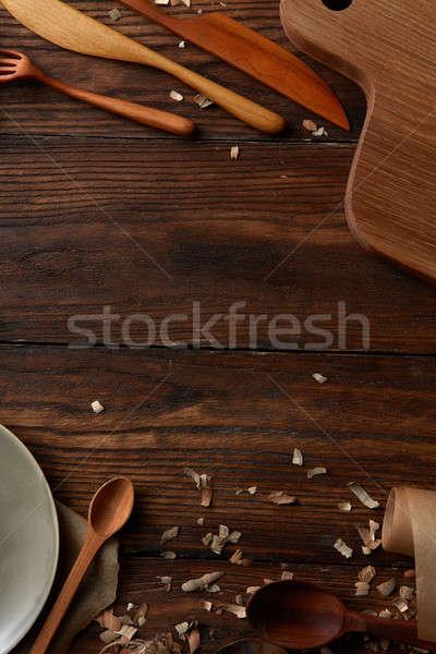 wooden kitchen utensils Stock photo © artjazz