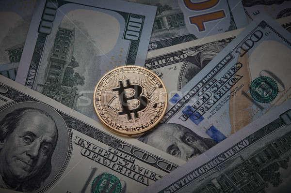 Veel gouden munt bitcoin digitale munt Stockfoto © artjazz