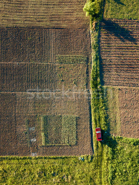 Auto weg velden zaaien luchtfoto agrarisch Stockfoto © artjazz