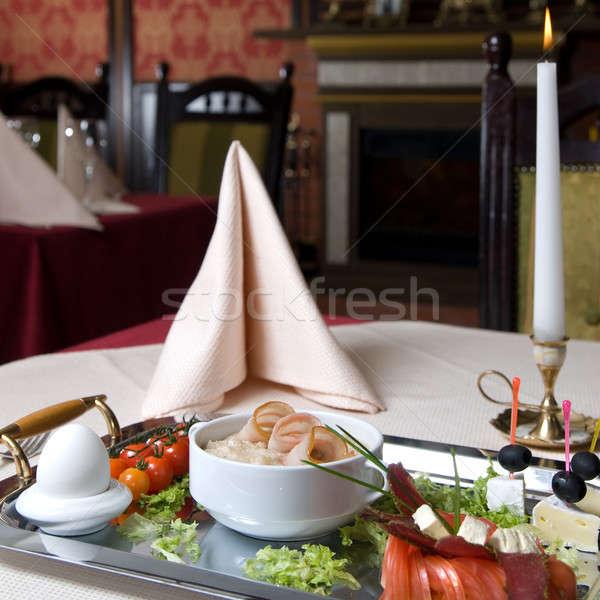 英語 朝食 プレート レストラン 食品 背景 ストックフォト © artjazz